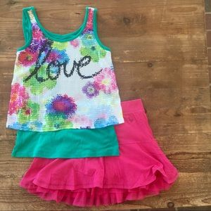 Lot 2 Justice cool bling love tank, flounce skort